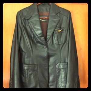 80's  Etienne Aigner Navy Leather Jacket